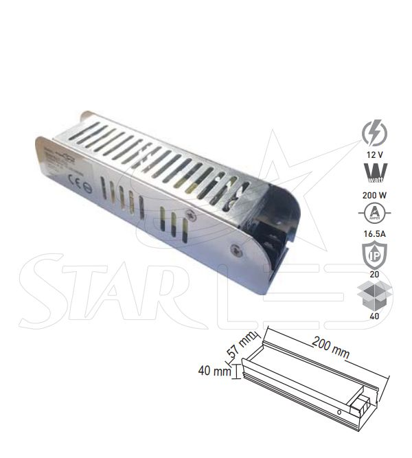 12 Volt 16.5 Amper LED Trafosu